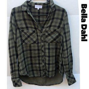 Bella Dahl Green Black Plaid Button Up Blouse *